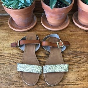 Mossimo // Cognac & Gold Glitter Sandals